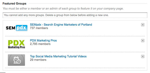 Featuring groups on Linkedin Page